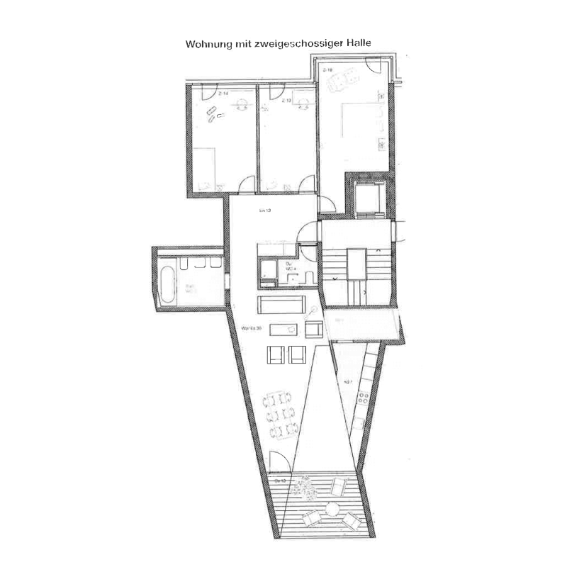 "True Country. Competition development""Suurstoffi"", Rotkreuz, 2009. – Furnished apartment floor plan. House ""windshield wipers"".."