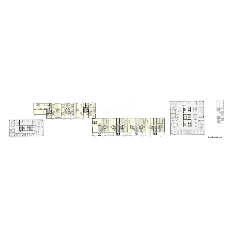 "True country. Competition development ""Suurstoffi"", Rotkreuz, Switzerland, 2009. – The  longhouses and their floorplans."