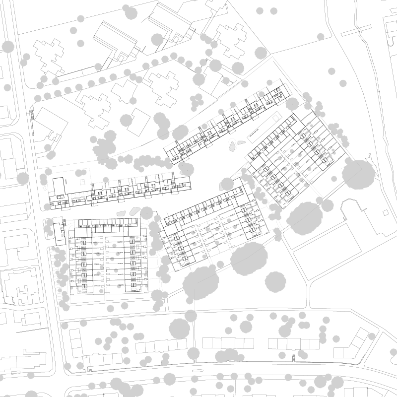 Urbanistic landscape. City in the garden. Study contract for FGZ cooperative, Zurich, Switzerland, 2006. – Site plan.