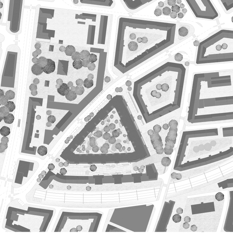 City at last. Rendez-vous with Giovanni Muzio. (mezzogiorno). Competition city district Himmelrich, Lucerne, Switzerland, 2012 – Site plan.