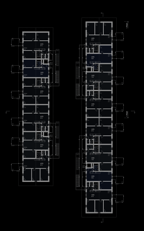 "2nd prize, competition ""Kapla"", Hirtenweg, Riehen, 2018 – 1st and 2nd floor plans, scale 1:200."