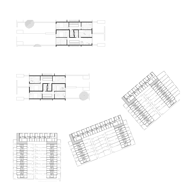 Urbanistic landscape. City in the garden. Study contract for FGZ cooperative, Zurich, Switzerland, 2006. Floor plans.