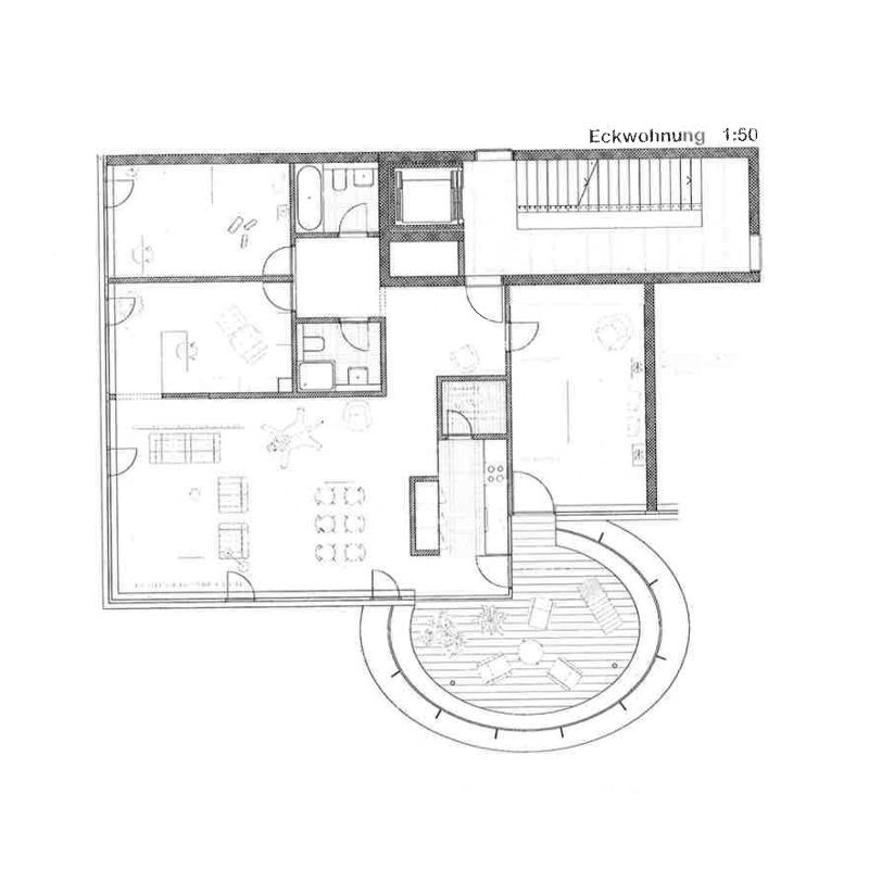 "True Country. Competition development ""Suurstoffi"", Rotkreuz, 2009. – Furnished apartment floor plan. Balcony-house."